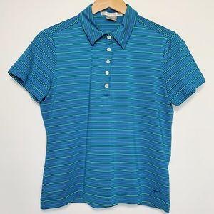 Nike Golf Polo Blue White Stripes Buttons